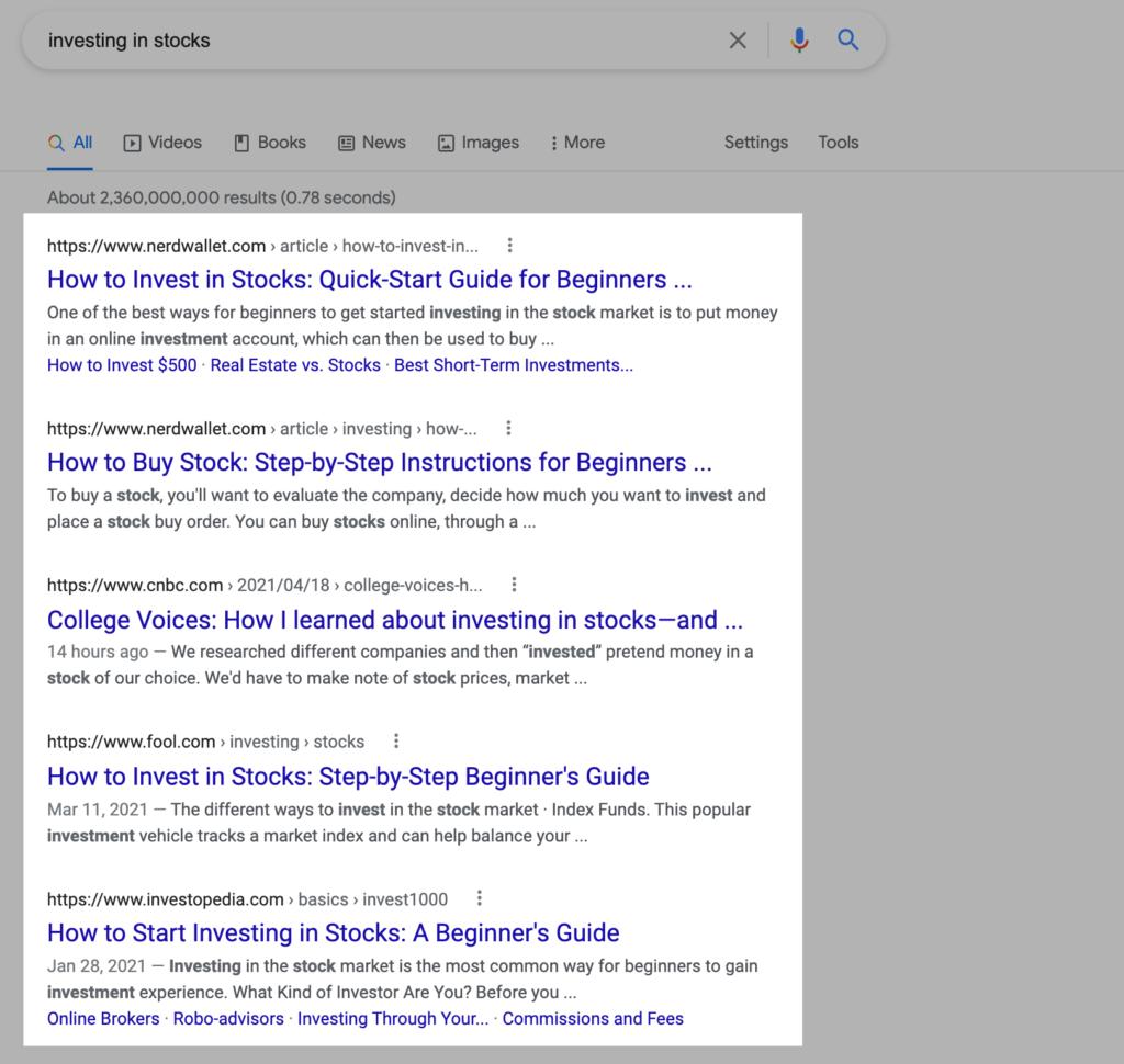 Search Intent Google Analysis