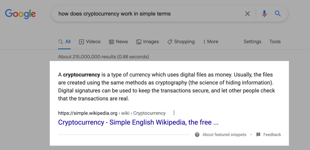 Featured Snippets and rich results