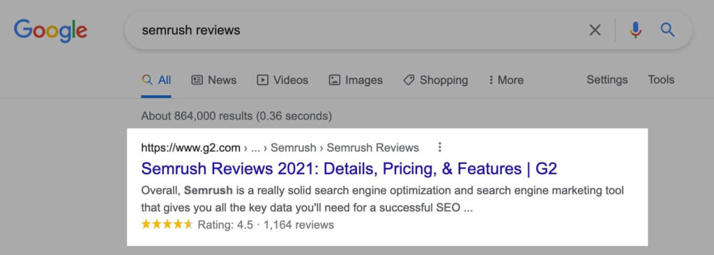 Review Snippets in Google